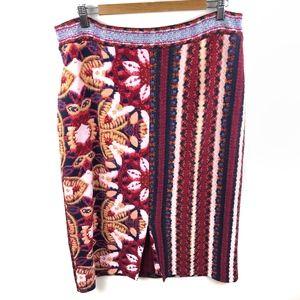 Maeve Tearoom Pencil Skirt Printed Front Slit